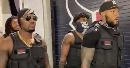 Houston Texans Linebackers Are Trying To Intimidate The Patriots By Dressing As A Swat Team
