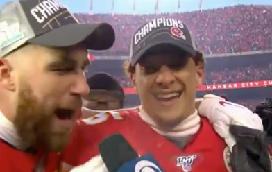"Video: Travis Kelce Interrupts Patrick Mahomes Postgame Interview To Tell Him ""I F**king Love You"""